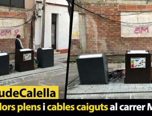 Contenidors plens i cables caiguts al carrer Monturiol