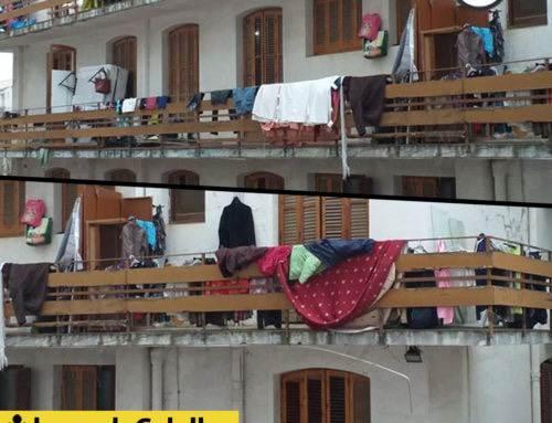 Balcons atapeïts d'objectes a la Bruna
