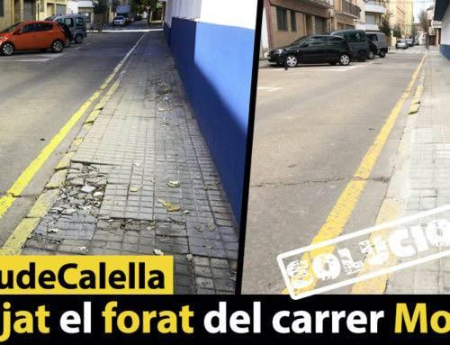 Arranjat el forat del carrer Moragas