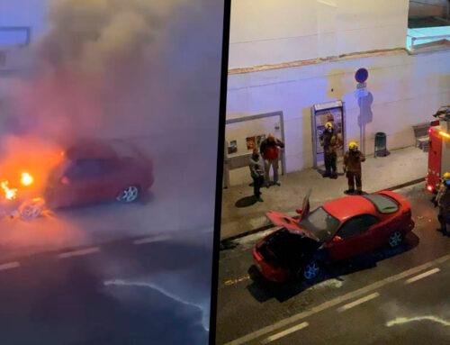 S'incendia un vehicle que circulava per la N-II a l'alçada del Mercat
