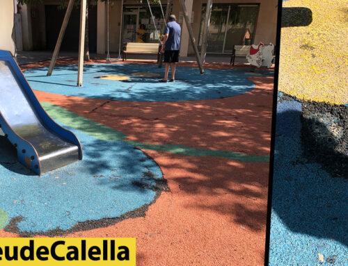 Cautxú desgastat al parc infantil de la plaça Vicenç Ferrer
